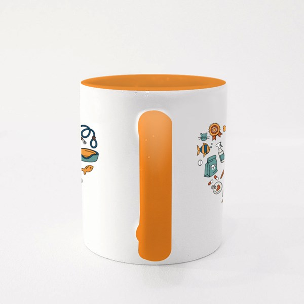 Heart Shape Coloured Doodles Colour Mugs