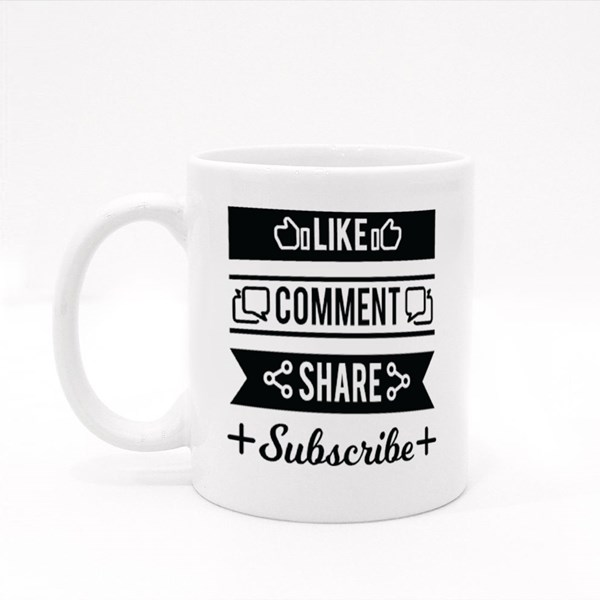 Comment and Share Subscrib Colour Mugs