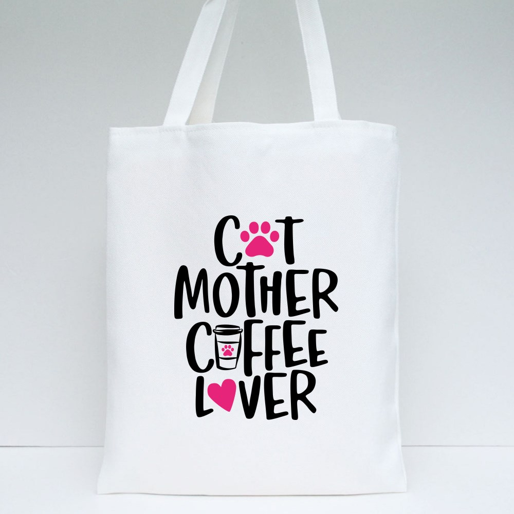 Cat Mother Coffee Lover Tote Bags