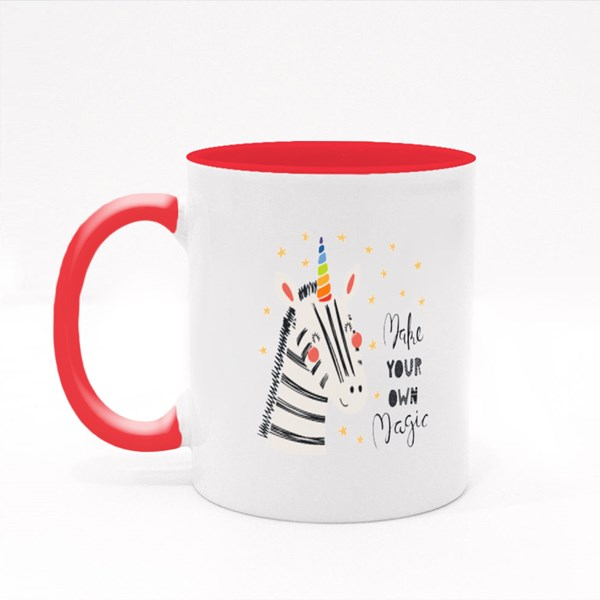 Cute Funny Zebra With Unicorn Colour Mugs
