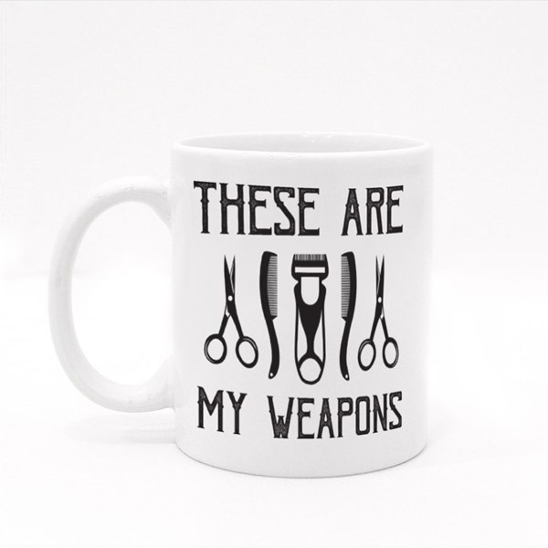 These Are My Weapons Barber Colour Mugs