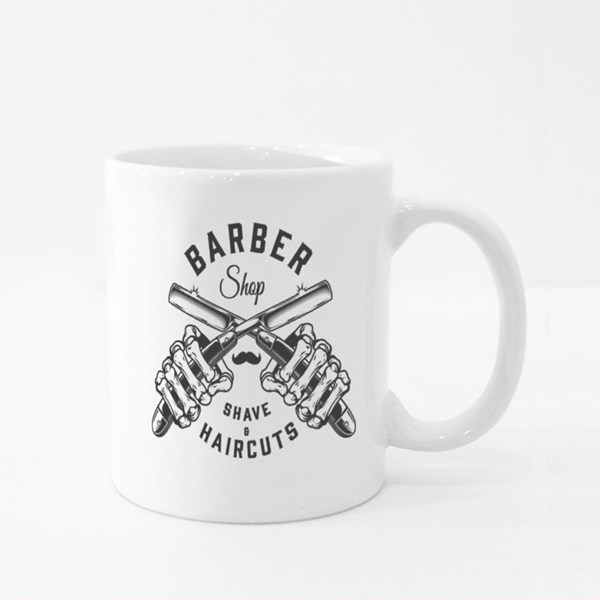 Barbershop and Skeleton Hands Colour Mugs