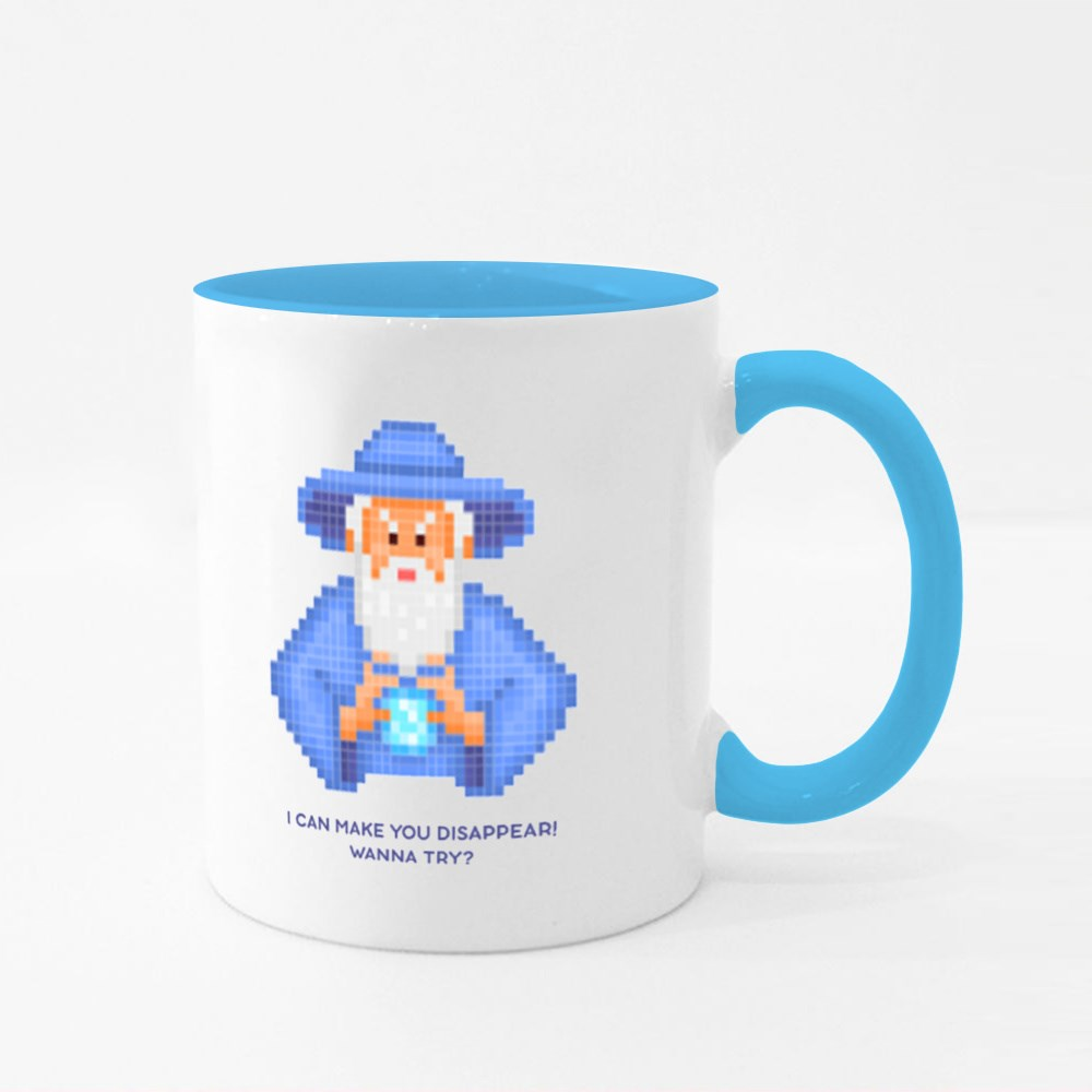 Evil Wizard Putting Spell Colour Mugs