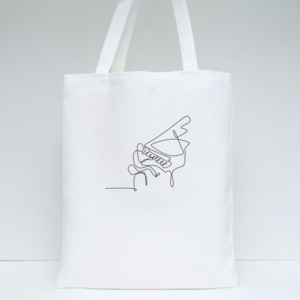Pianist One Line Drawing Tote Bags