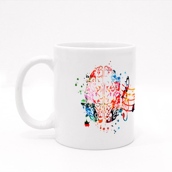 Brain and Music Notes Colour Mugs