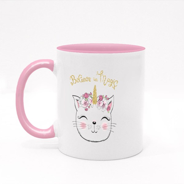 Cute Little Unicorn Kitty Girl Colour Mugs