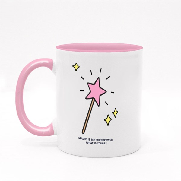 Pink Star Shaped Magic Wand Colour Mugs