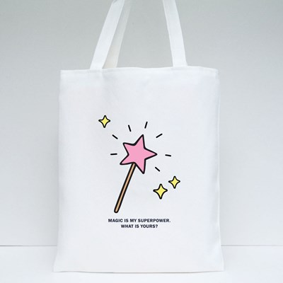 Pink Star Shaped Magic Wand Tote Bags