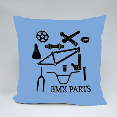 Set of Bmx Parts Icons Throw Pillows