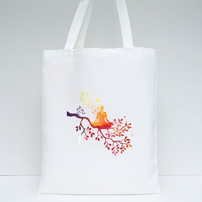 Yoga Meditation With Tree Tote Bags