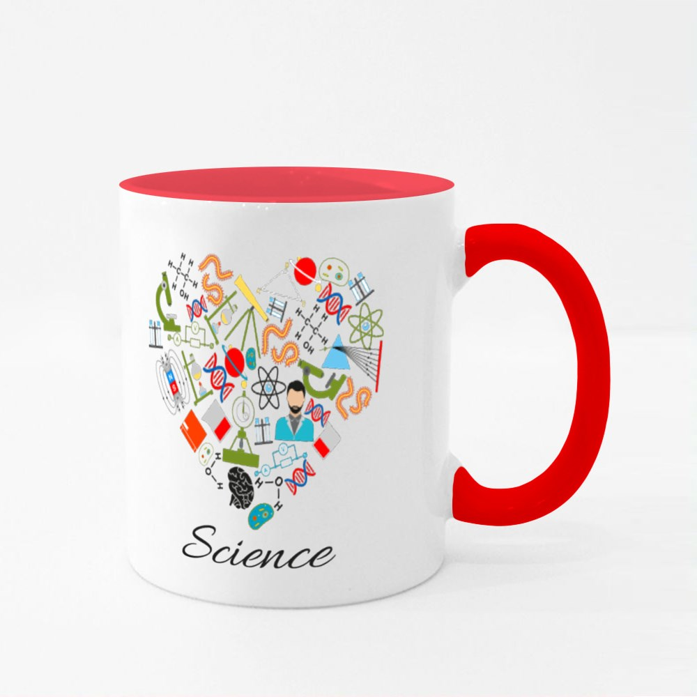 Heart Made of Science Colour Mugs