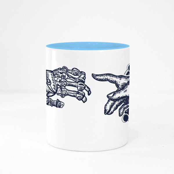 Human and Robot's Hands Colour Mugs