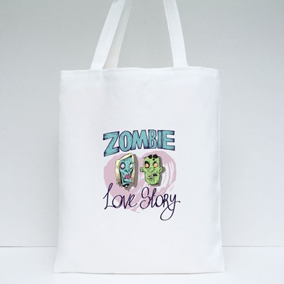 Zombie Love Story Tote Bags
