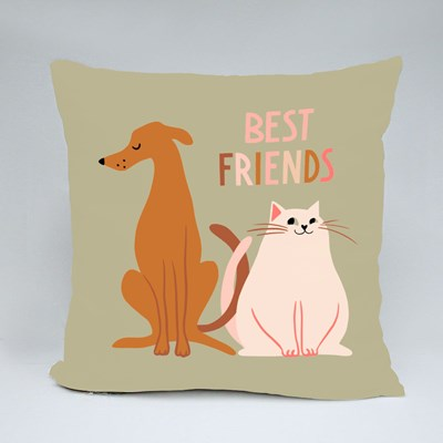 Best Friends of Dog and Cat Throw Pillows
