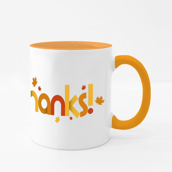 Give Thanks With Maple Leaves Colour Mugs