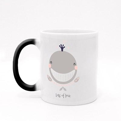Cute Whale With Hearts Magic Mugs