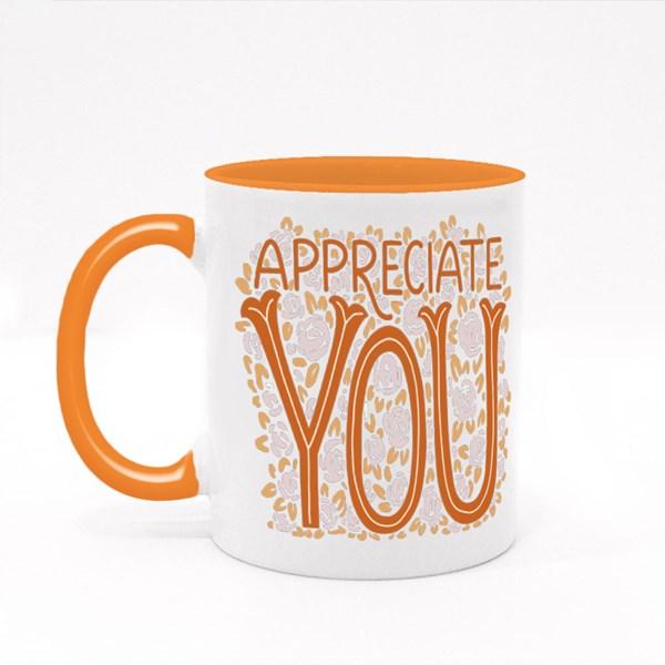 Appreciate You With Flower Colour Mugs