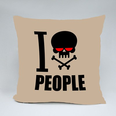 I Hate People Hatred Skull Throw Pillows