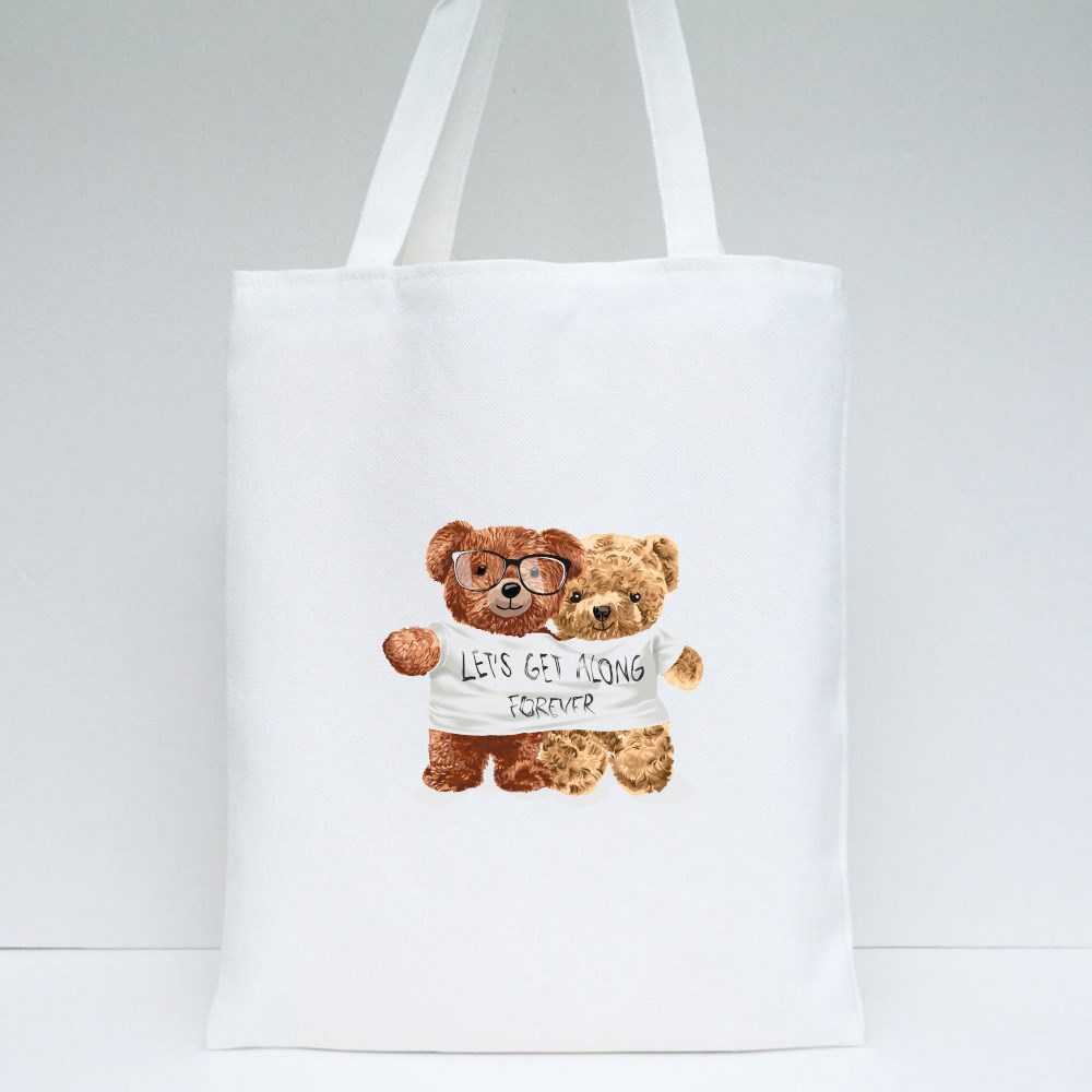 Bear Toy Couple Tote Bags