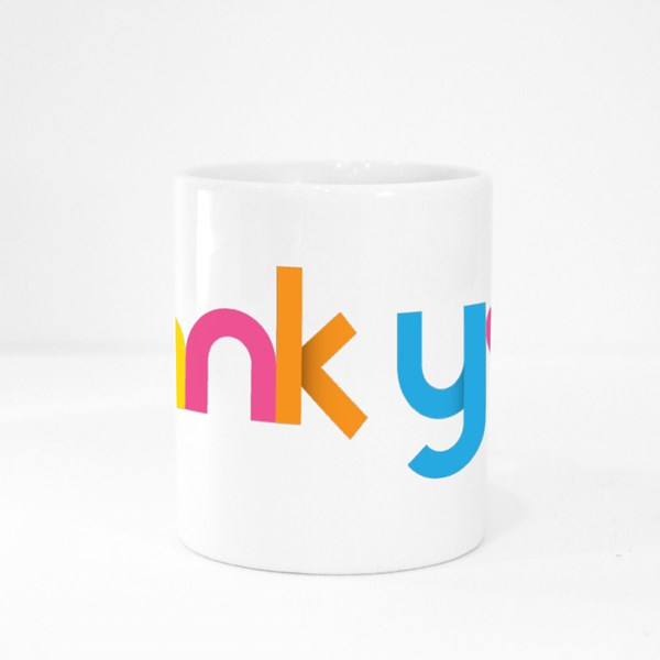 Thank You  Geometric Type Colour Mugs
