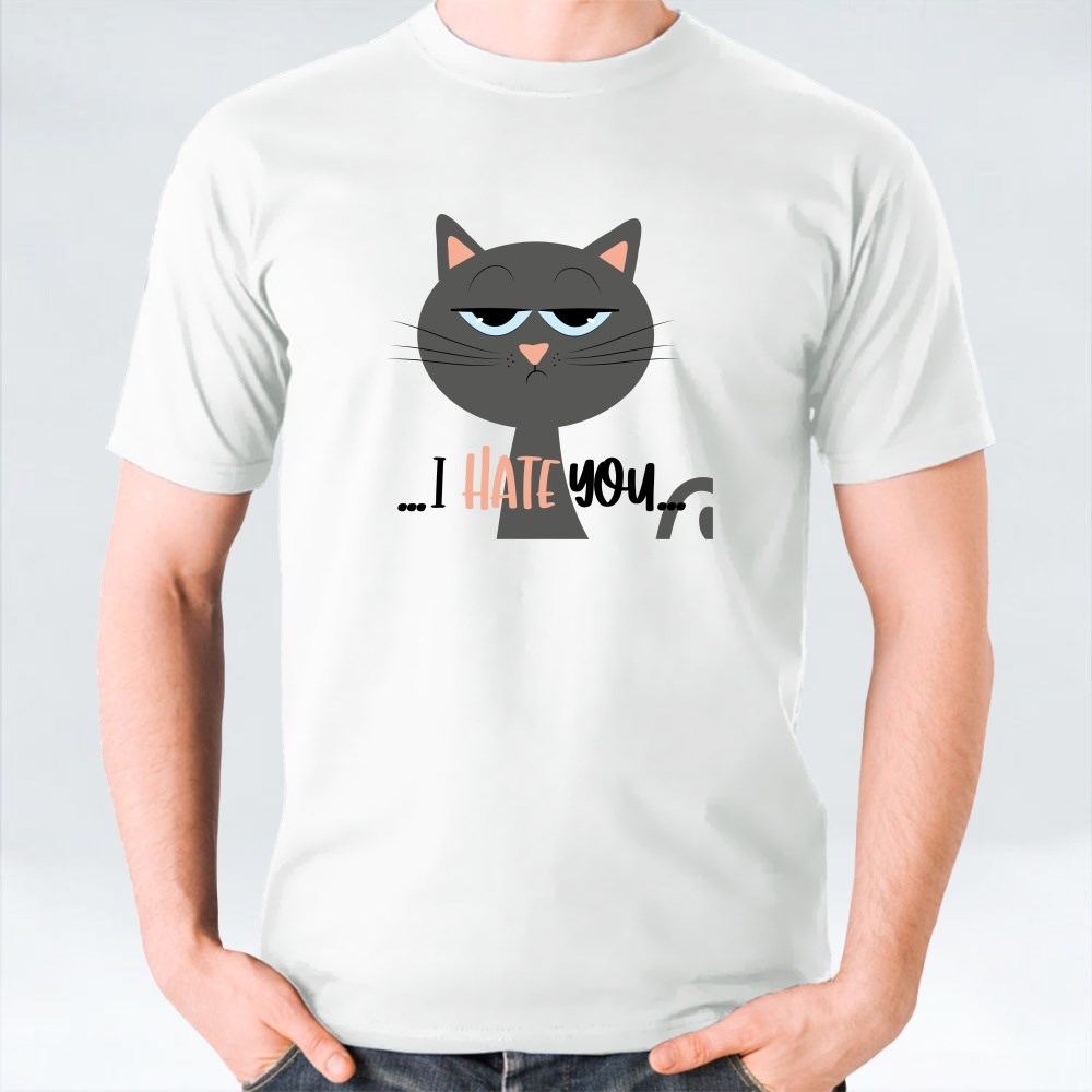 Grimacing Cat I Hate You T-Shirts