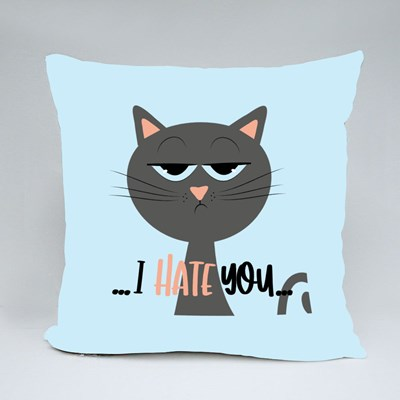 Grimacing Cat I Hate You Throw Pillows