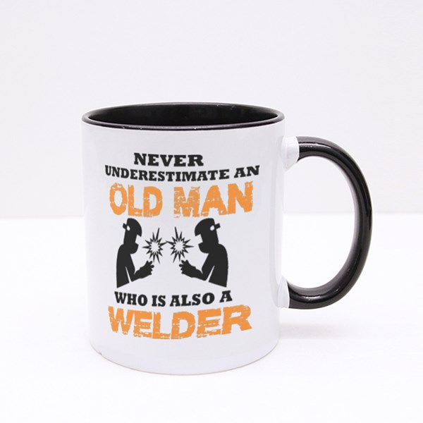 Never Underestimate Old Man Colour Mugs