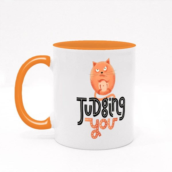 Judging You With Angry Cat Colour Mugs