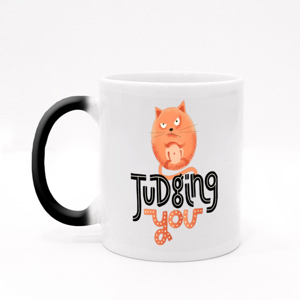 Judging You With Angry Cat Magic Mugs