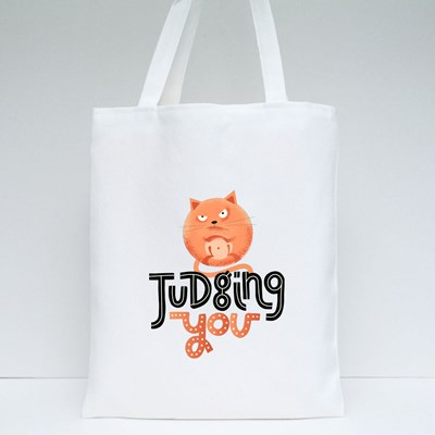 Judging You With Angry Cat Tote Bags