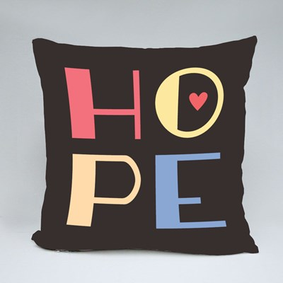 Hope Square Font Vector Text Throw Pillows