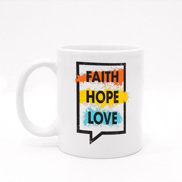Faith Hope Love Wording Colour Mugs