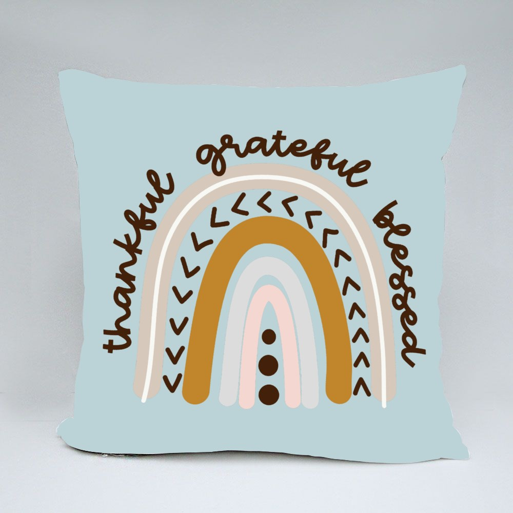 Thankful Grateful Blessed Throw Pillows
