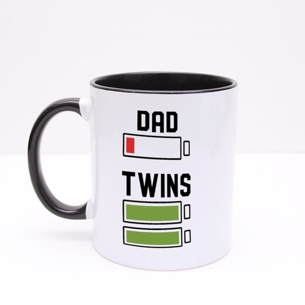 Dad Twins Typography Colour Mugs