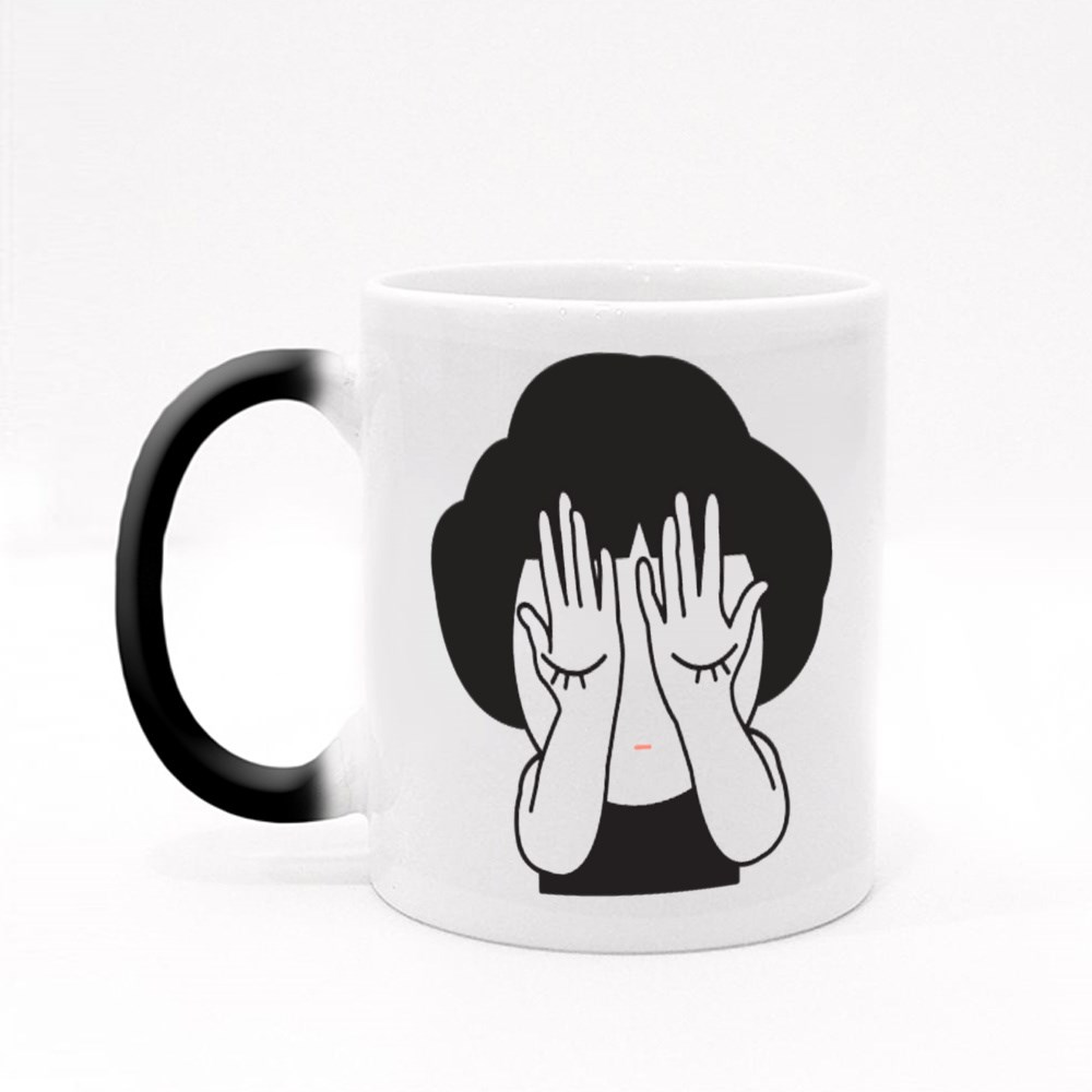 Young Girl Covering Her Face Magic Mugs