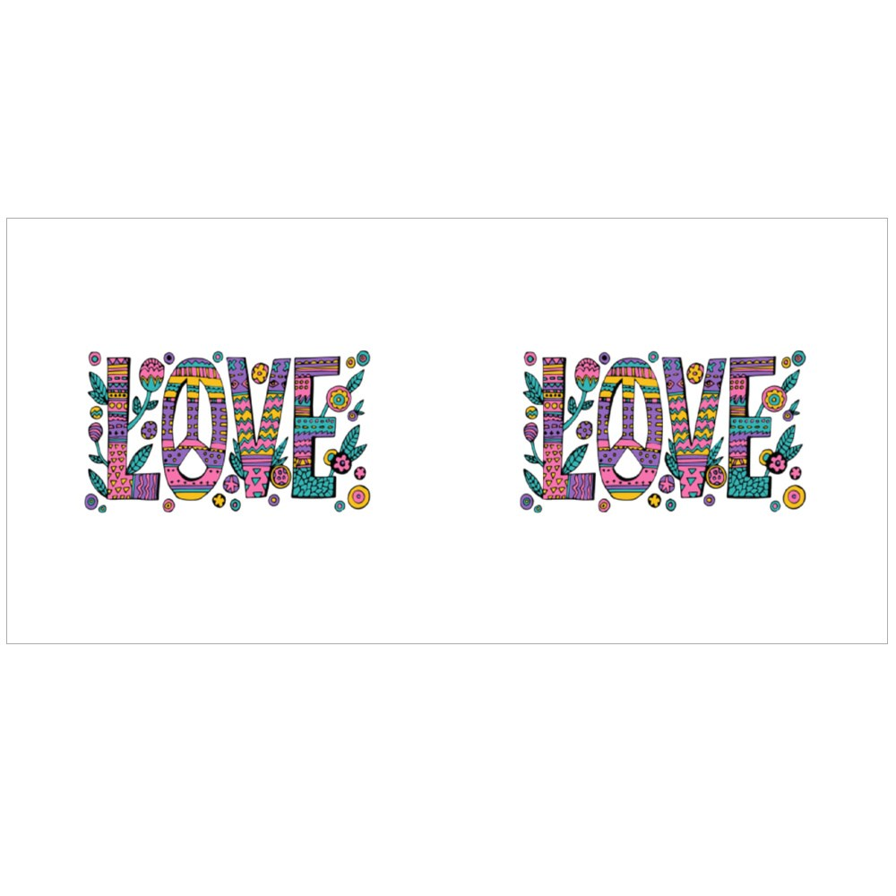 Psychedelic Hippie Love Colour Mugs
