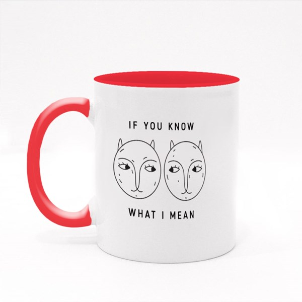 Two Cats Exchanging Glances Colour Mugs
