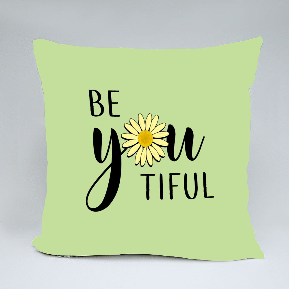 Beyourtiful Daisy Lettering Throw Pillows