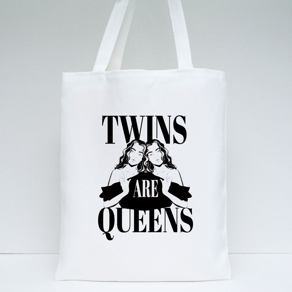Twins Are Queens Tote Bags