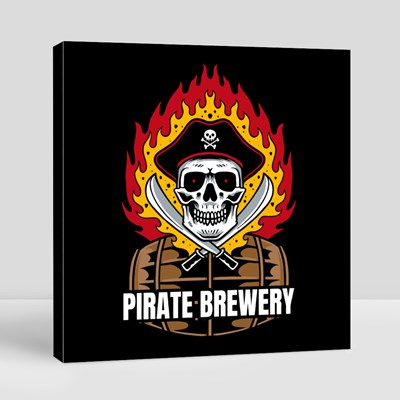 Pirate Brewery With Skull 帆布畫(正方形)