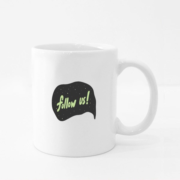 Follow Us Streamer Quotes Colour Mugs