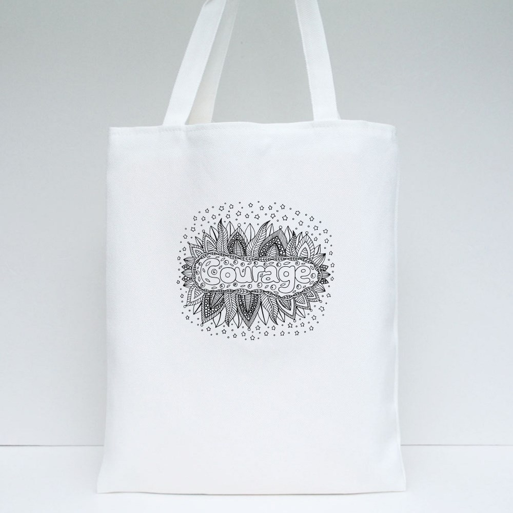 Mandala With Courage Word Tote Bags
