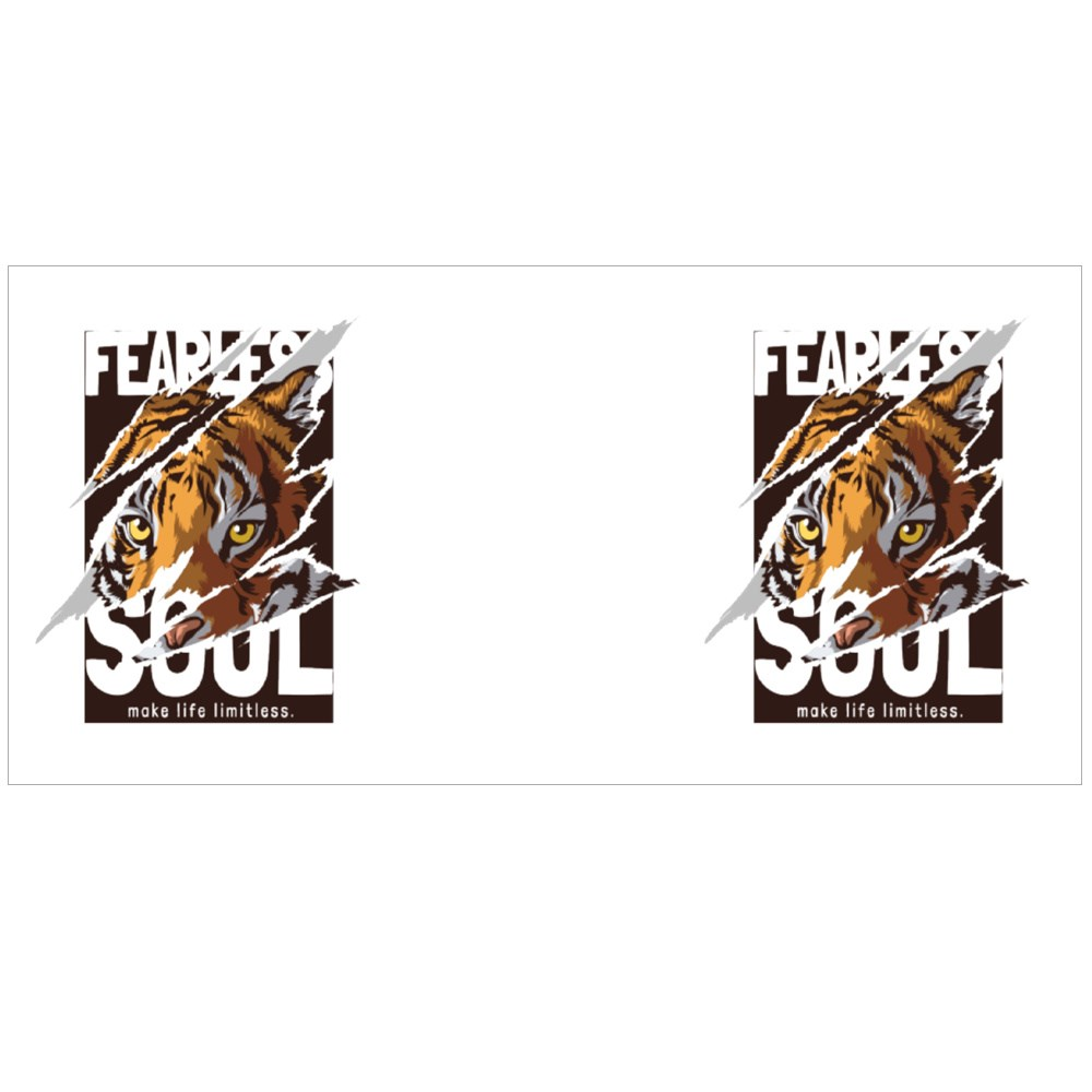 Fearless Soul Slogan and Tiger Colour Mugs