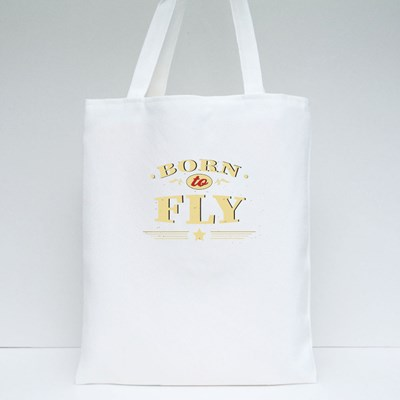 Born to Fly Vintage Wording 帆布袋