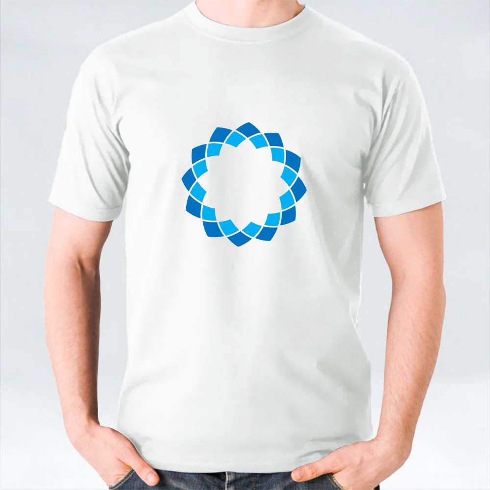 Circular Rosette With 12 Petals Pattern in Dark and Light Blue T-Shirts