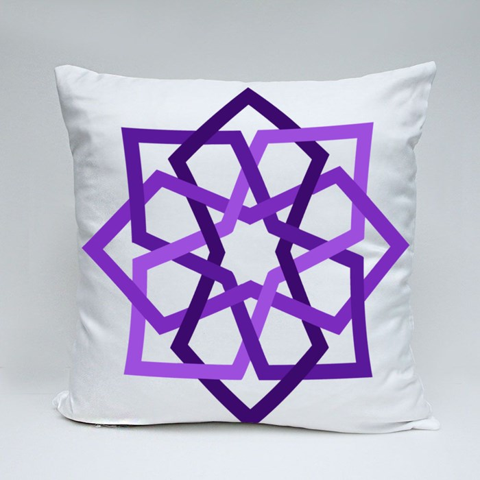 Purple 8 Fold Star With Islamic Art Pattern in Tiles Geometric Style Throw Pillows