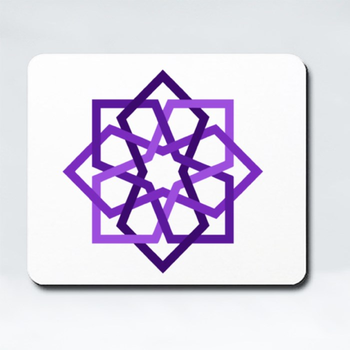 Purple 8 Fold Star With Islamic Art Pattern in Tiles Geometric Style Mousepads (Rectangle)