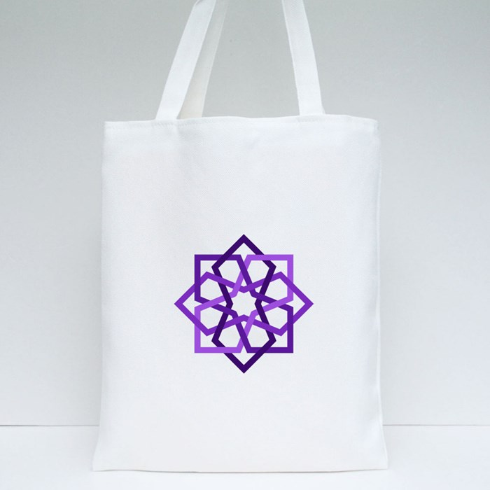 Purple 8 Fold Star With Islamic Art Pattern in Tiles Geometric Style Tote Bags