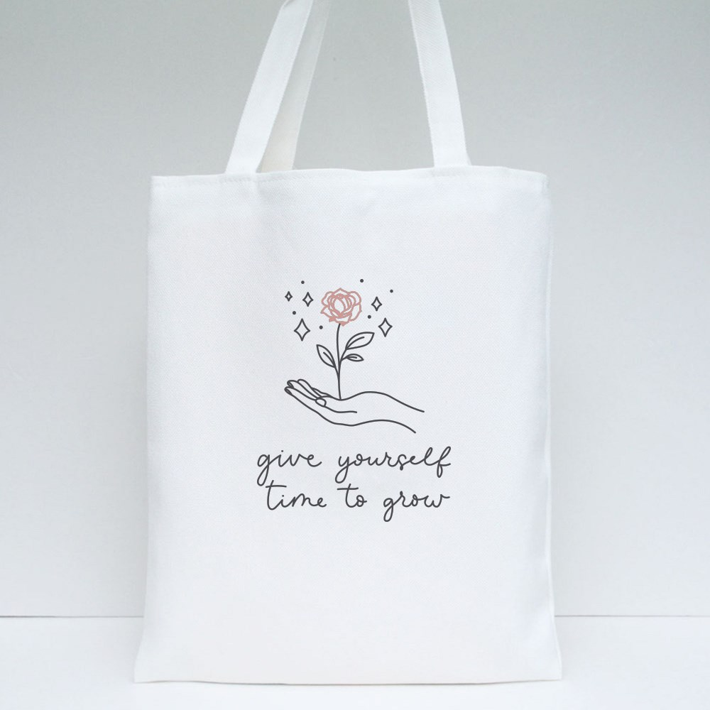 Give Yourself Time to Grow Tote Bags