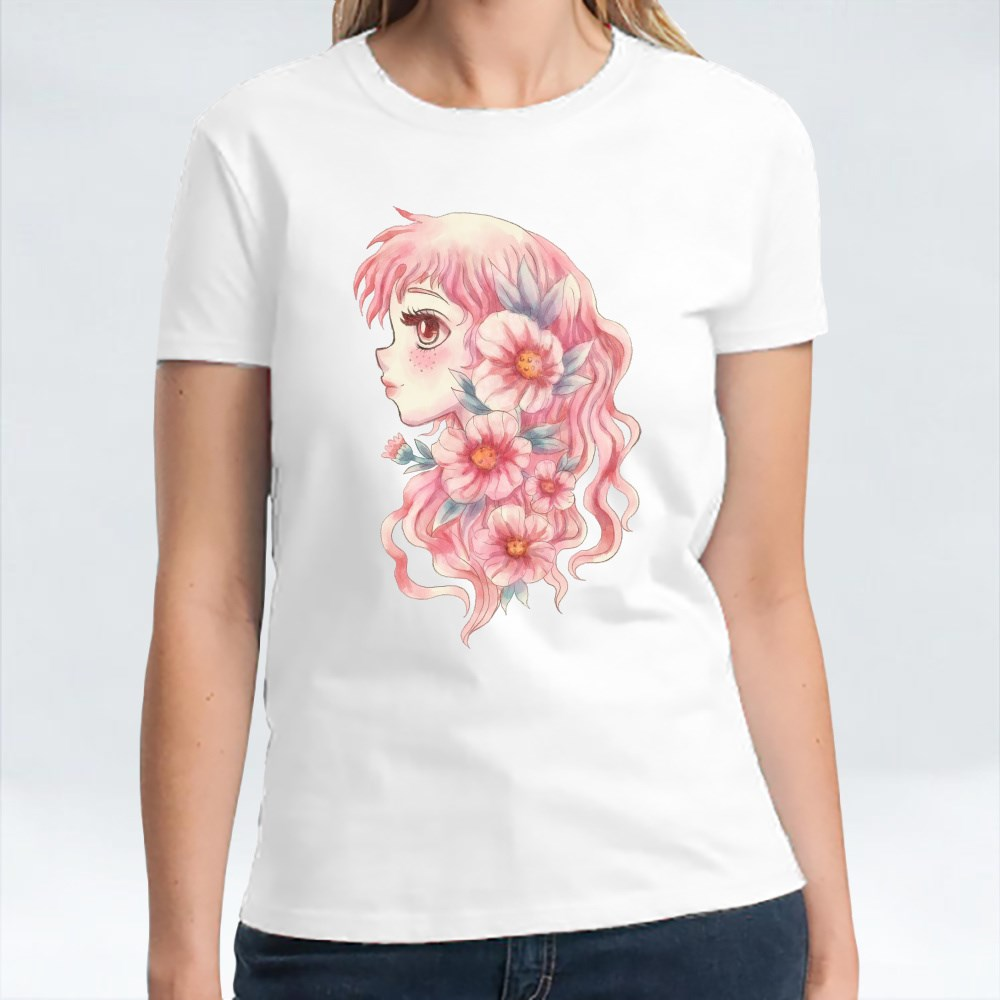 Cute Pink Floral Girl T-Shirts